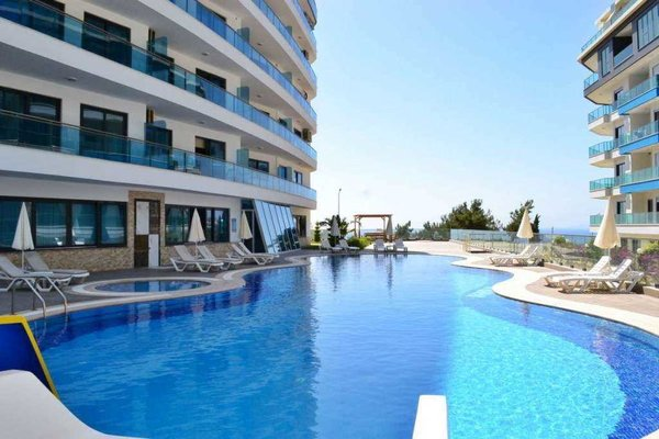 Apartment for sale in Alanya Kargıcak - swimming pool, Turkish bath, sauna, sea view