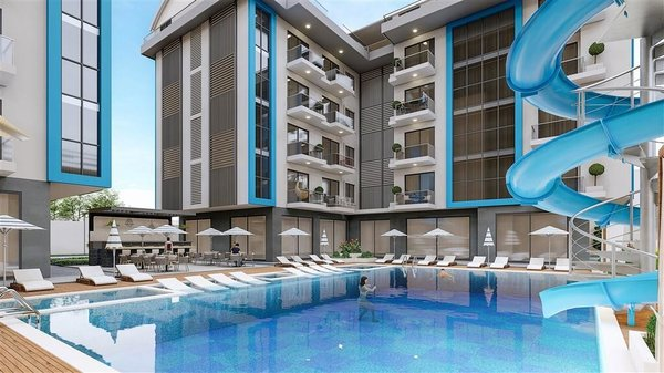 Inexpensive apartments in a quiet location with fitness, sauna and Turkish bath in Alanya - Oba