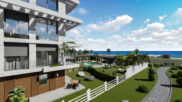 New apartments under construction with sea views in Alanya - Kestel
